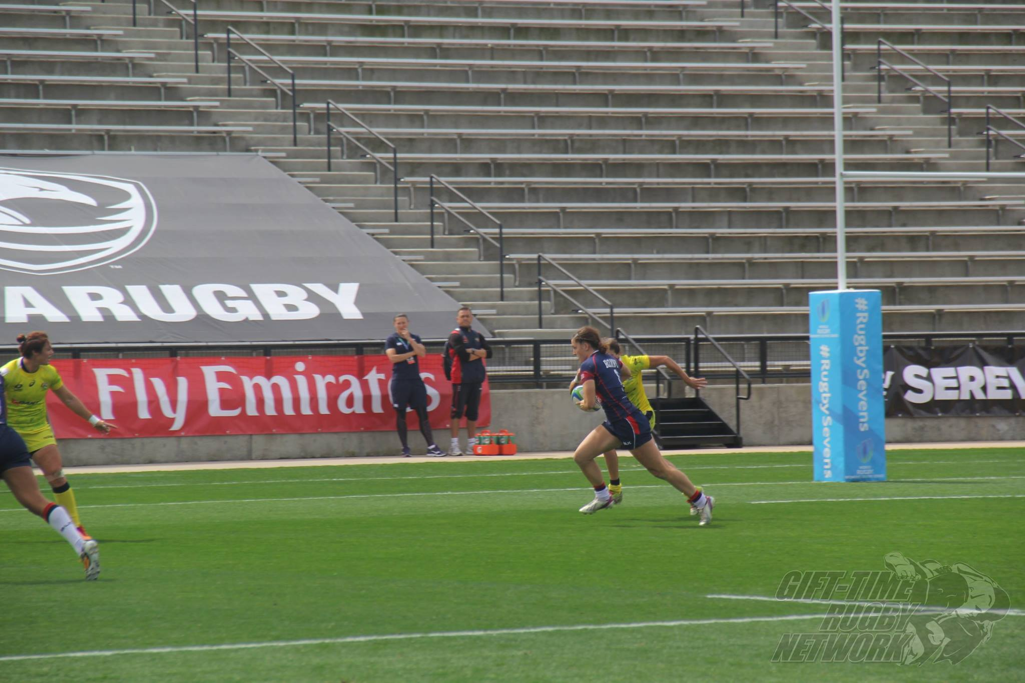 Bonny looks to find the try zone against Australia.