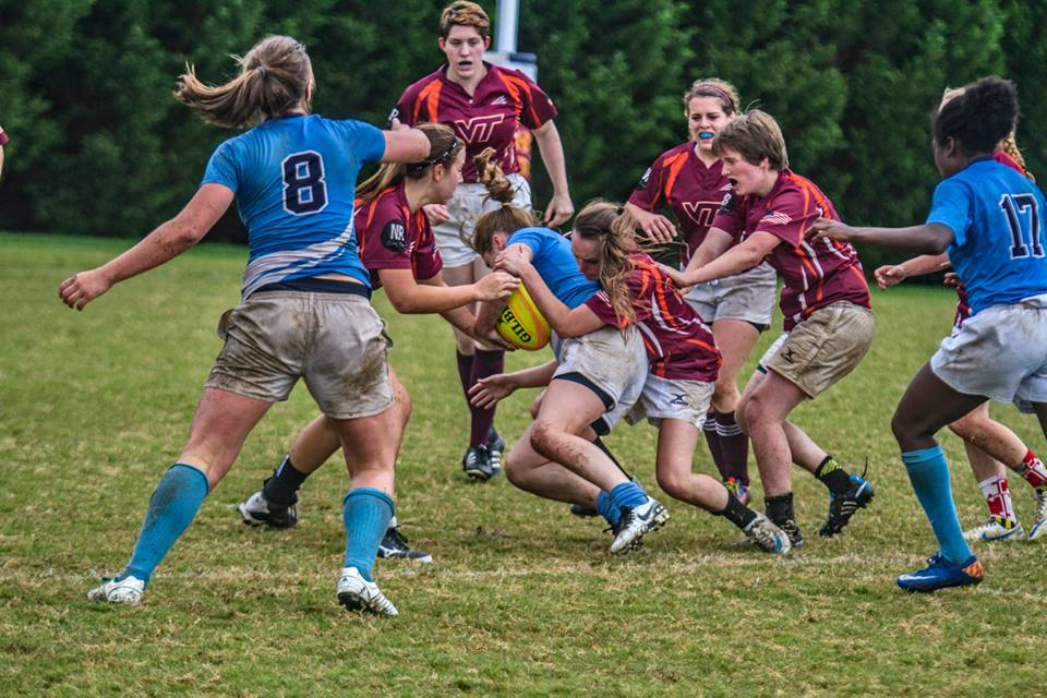 University of North Carolina Women's Rugby vs. Virginia Tech; courtesy of KFolk Photos