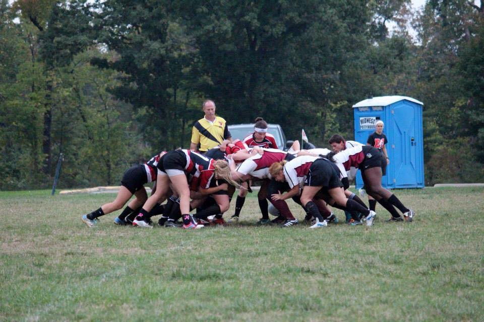 Villagran lines up at flanker for a scrum. Photo Courtesy of Southern Illinois Women's Rugby.