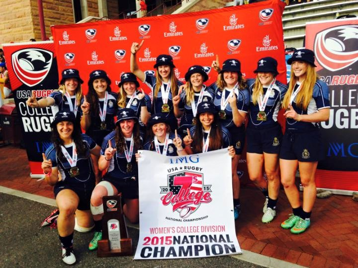 Penn State Women celebrating their College 7s championship: courtesy of Penn State Rugby