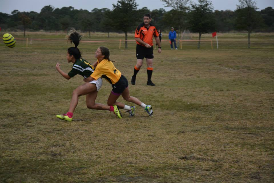 Borja gets a pass off under pressure. Photo Courtesy of River Women's Rugby
