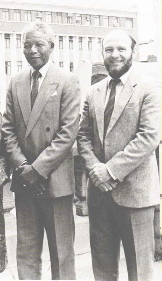 Rob Haswell and Nelson Mandela; Photo provided by Benjy Haswell