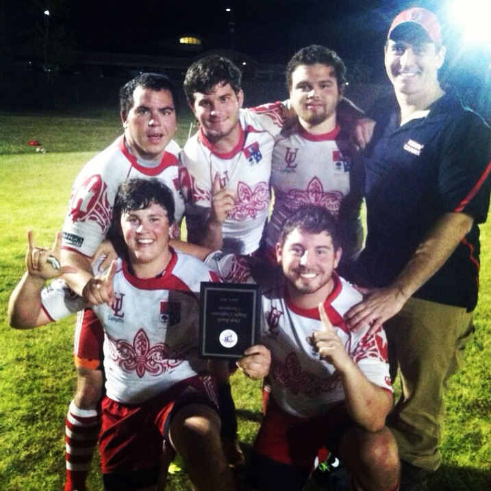 UL Rugby holding the trophy after winning the 2013 Deep South Rugby Conference Credit: Rudi Spurlock