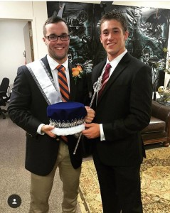 Sam Houston State Rugby player and 2015 Homecoming King, Rick Barber (left) being presented the crown by fellow player and 2014 Homecoming King, Nick Duhon (right); photo provided by Gary Meyers