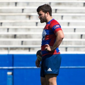 Pinneo takes a quick mental break during the game. Photo Courtesy of South Alabama Rugby.