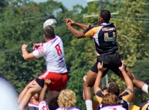 Spurlock attempts to bat down a lineout attempt. Photo Courtesy of ULL Rugby